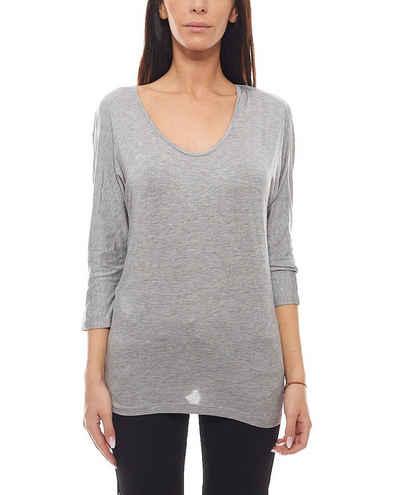 Maui Wowie Shirttop »MAUI WOWIE Damen 3/4-Arm Langarmshirt schickes Shirt mit Spitze Sommer Grau«
