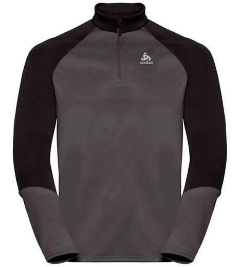 Odlo Strickpullover »odlo Langarm-Shirt schnell trocknendes Damen Half Zip Sport-Shirt Planches Longsleeve Outdoor-Shirt Grau/Schwarz«