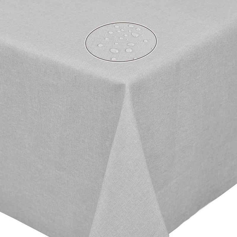 Fiora Tischdecke »Leinenoptik Lotuseffekt Tischtuch bügelfreie Tischdecke mit Fleckschutz«, uni fleckenabweisend