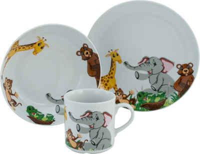 CreaTable Kindergeschirr-Set »Zoo« (3-tlg), Porzellan, Dekor mit lustigen Zoobewohnern