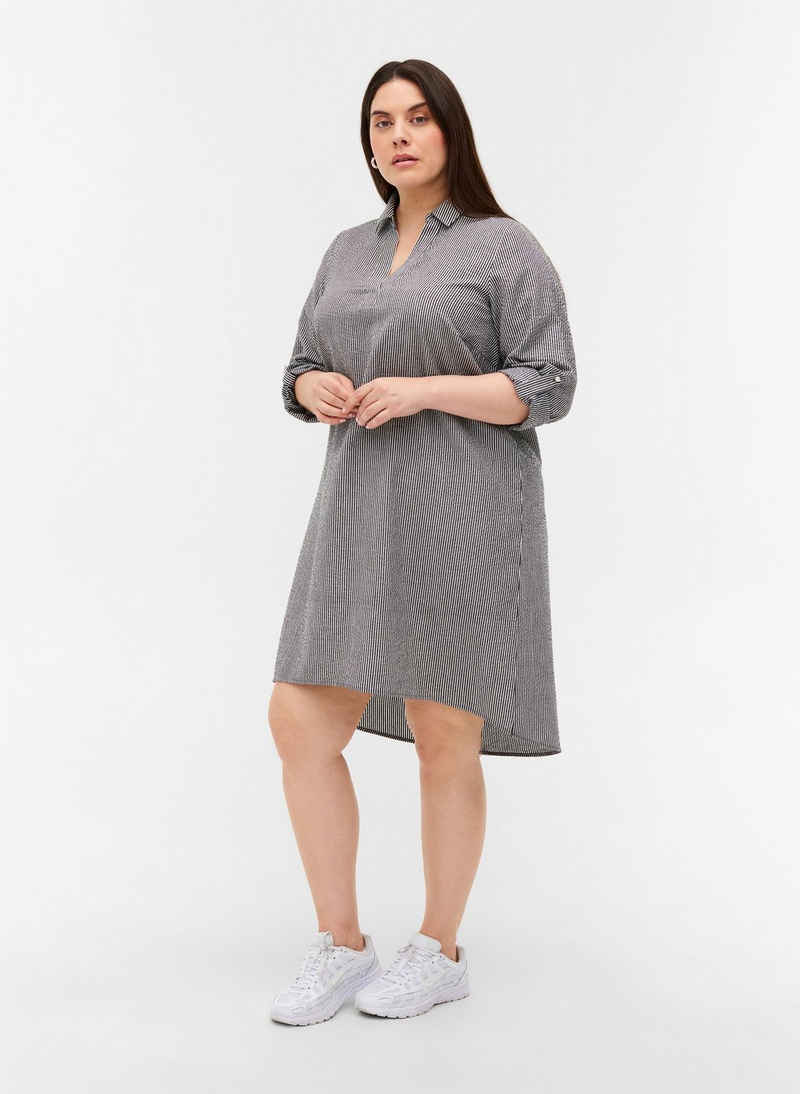 Zizzi Shirtkleid Große Größen Damen Baumwollkleid mit Streifen und V-Ausschnitt