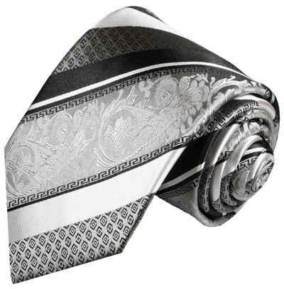 Paul Malone Krawatte »moderne Herren Seidenkrawatte barock gestreift 100% Seide« Breit (8cm), silber 382