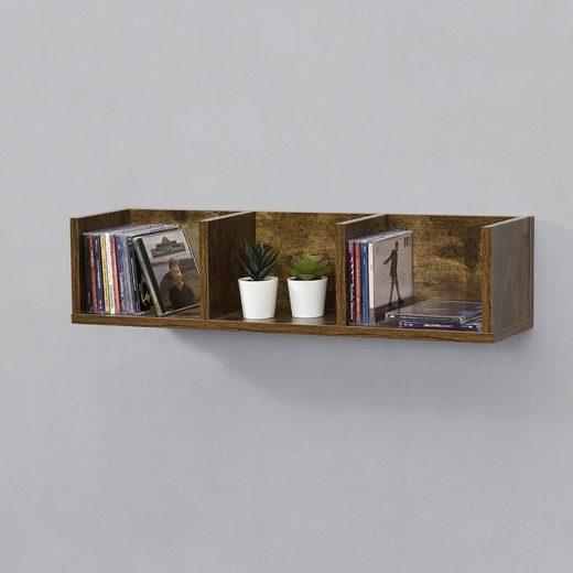 en.casa Wandregal, Hängeregal, »Isua« Bücherregal Schweberegal Wandboard 75x17x17cm CD Regal mit 3 Ablagefächern Holzfarben