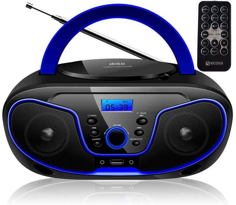 ecosa »EO-2200« tragbarer CD-Player (CD-Player, Tragbarer CD-Player, FM Radio mit MP3 USB, Fernbedienung)