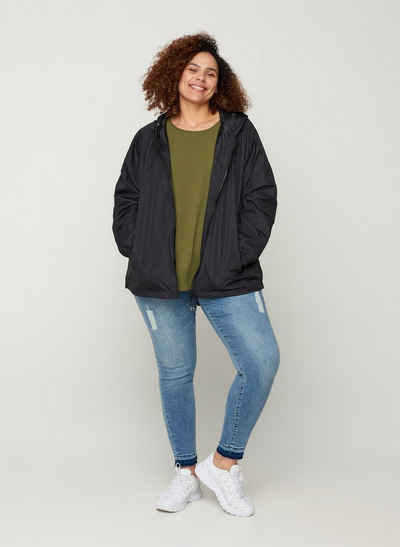 Zizzi Kurzjacke Große Größen Damen Jacke mit Kapuze, Reißverschluss und Taschen