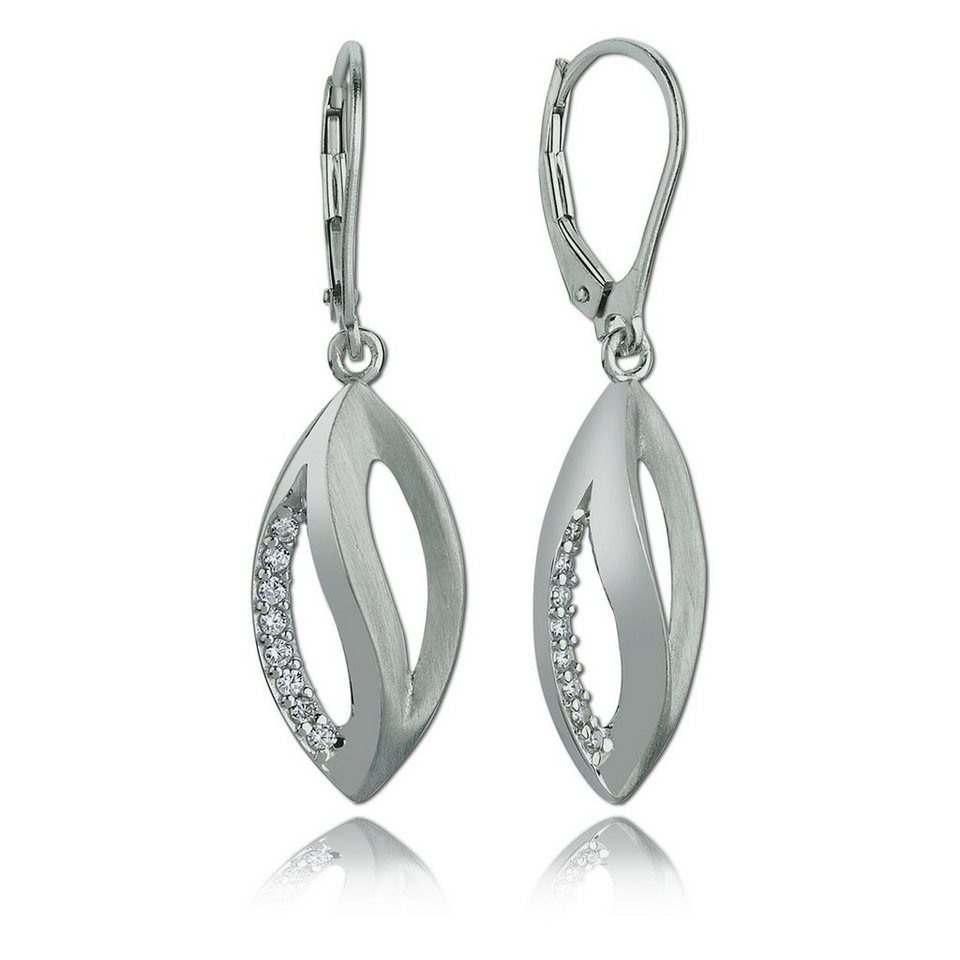 Balia Damen Ohrringe matt und poliert aus 925er Silber mit Zirkonia BAO0038SW