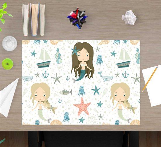 cover-your-desk.de Schreibtischaufsatz »Schreibtischunterlage für Kinder – Meerjungfrauen – 60 x 40 cm – aus hochwertigem Vinyl«, (1-St)