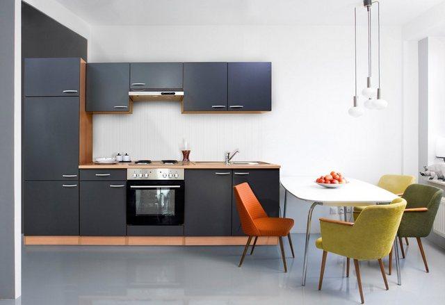 Respekta Küchenzeile LBKB270BG 270 cm ohne Geräte Grau-Buche Nachbildung