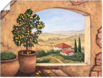 Artland Wandbild »Fenster in der Toskana«, Fensterblick (1 Stück), in vielen Größen & Produktarten - Alubild / Outdoorbild für den Außenbereich, Leinwandbild, Poster, Wandaufkleber / Wandtattoo auch für Badezimmer geeignet