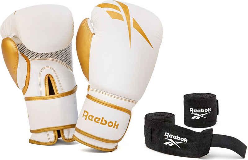 Reebok Boxhandschuhe »12oz. Boxhandschuhe + Handbandagen gold« (Set)