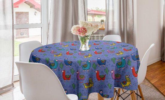 Abakuhaus Tischdecke »Kreis Tischdecke Abdeckung für Esszimmer Küche Dekoration«, Lama Cartoon-Tier Triangles