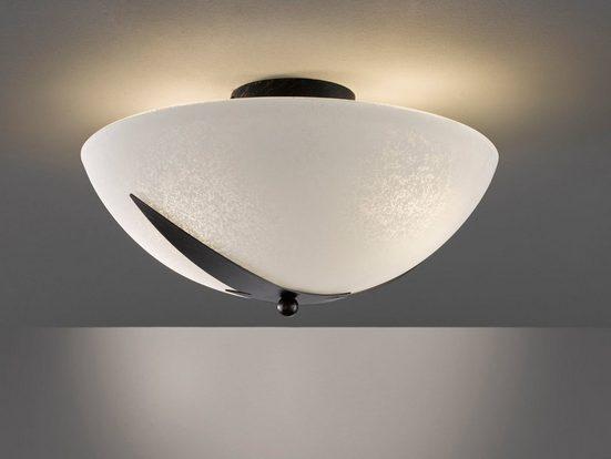 FISCHER & HONSEL LED Deckenleuchte, Lampe Decke Glas rund Landhaus-Stil antik, dimmbares Design Deckenlicht Weiß für indirekte Decken-Beleuchtung Flur & Diele