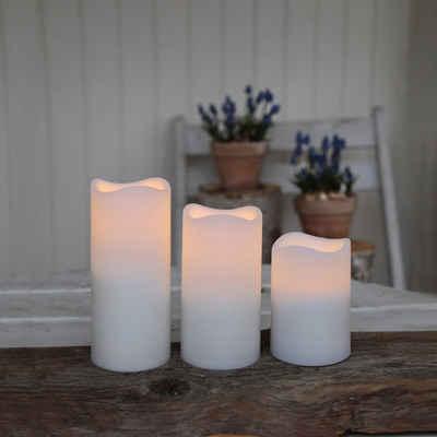 STAR TRADING LED-Kerze »LED outdoor Kerzen - flackernd - Batterie/Timer/Fernbedienung - weiß - 3er Set«