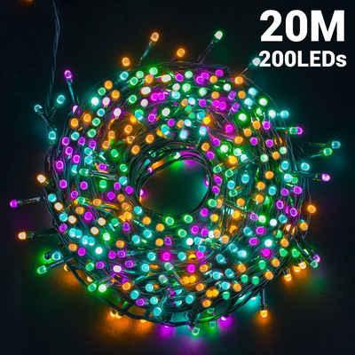 GlobaLink Lichterkette »Bunte Lichterkette«, 200-flammig, Weihnachtsbeleuchtung bunt, LED Lichterkette Außen mehrfarbig 8 Modi mit Memory Funktion Wasserdicht IP44 Weihnachtsdeko für Innen und Außen weihnachtsbaum, Party, Hochzeit