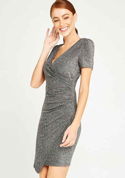 Apricot Partykleid »Ruched Bodycon Faux Wrap Dress« (1-tlg) im Metallic-Look