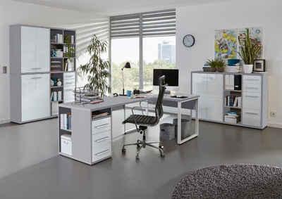 Maja Möbel Eckschreibtisch »Maja Set+ Set 4« (Büromöbel-Set Büro Aktenschränke abschließbar), wechselseitig montierbarer Winkelschreibtisch