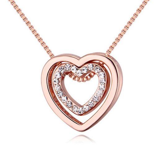 BUNGSA Kette mit Anhänger »Kette Herz in Herz Rosegold Messing Damen« (inkl. Schmuckbeutel aus Organza), Halskette Necklace Damen Herren Mädchen