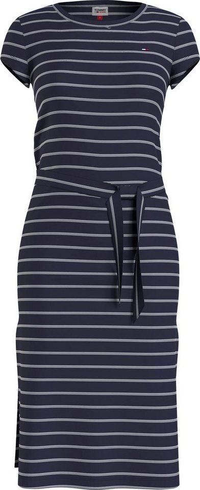 tommy jeans -  Jerseykleid »TJW BELTED STRIPE DRESS« mit feinem Streifendessin &  Logo-Flag