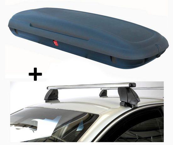 VDP Fahrradträger, Dachbox VDPCA480 480 Liter carbonlook + Dachträger K1 PRO Aluminium kompatibel mit Hyundai i10 (PA) (5Türer) 07-13