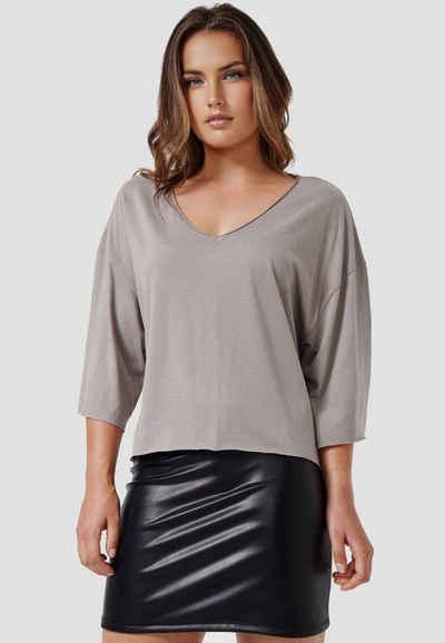 Cotton Candy T-Shirt »WADHA« mit weitem V-Hals