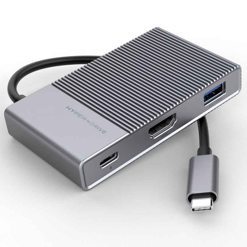HYPER by Sanho Laptop-Dockingstation »HyperDrive«, [6in1 USB-C Hub für Apple MacBook & USB-C Notebooks, USB-C Power Delivery (100W), HDMI (4K/60Hz HDR), USB-A (10Gbps), Micro SD UHS-II, SD UHS-II, 3,5mm Audio] - grau
