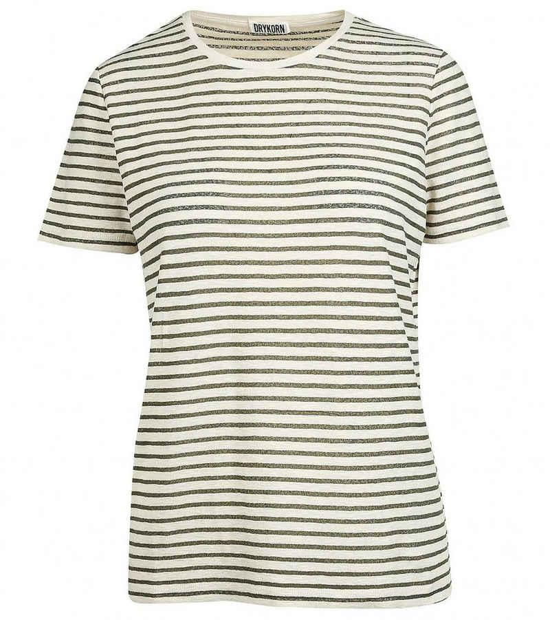 Drykorn T-Shirt »DRYKORN Rundhals-Shirt gestreiftes Damen Freizeit T-Shirt Kurzarm-Shirt Oliv/Beige«