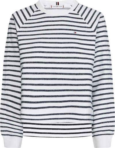 Tommy Hilfiger Sweatshirt »Regular STP Open-Nk Sweatshirt« mit allover Ringeldessin & Tommy Hilfiger Logo-Flag