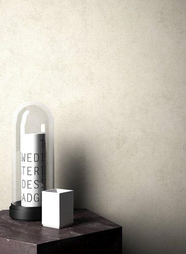 Newroom Vliestapete, Beige Tapete Leicht Glänzend Modern - Uni Einfarbig Creme Grau Struktur Schlicht für Schlafzimmer Wohnzimmer Küche