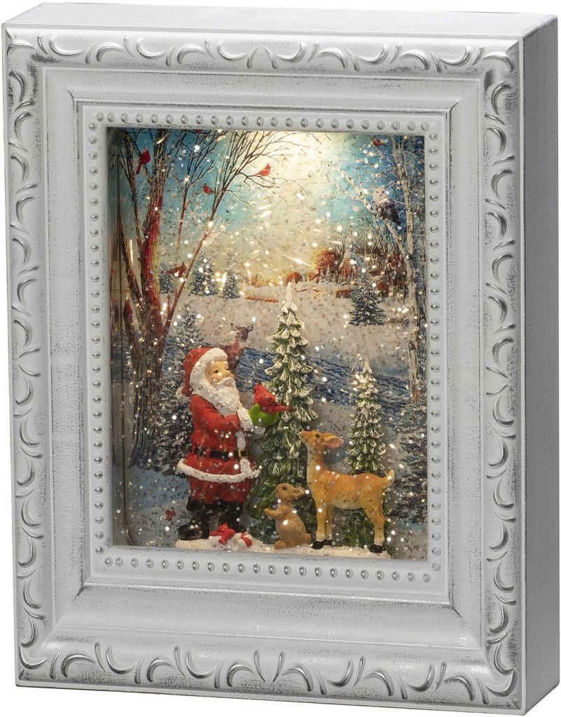 """KONSTSMIDE LED Laterne, LED Wasserlaterne, antik weiß, Bilderrahmen, """"Weihnachtsmann mit Tieren"""""""