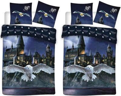 Bettwäsche »Harry Potter - Eule Hedwig - 2 x Wende-Bettwäsche-Set, 135x200 & 80x80 cm«, Harry Potter, 100% Baumwolle
