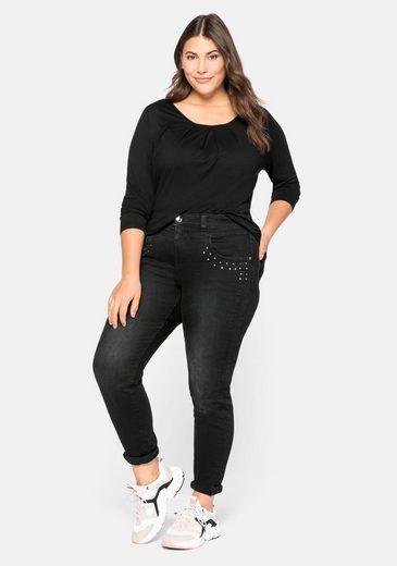 Sheego Stretch-Jeans mit Nieten-Applikation