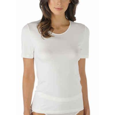 Mey Unterhemd »Emotion Shirt«, Ohne störende Seitennähte, Natürliches Tragegefühl, Das Halbarm-Shirt ist am Ausschnitt mit edlem Satin eingefasst