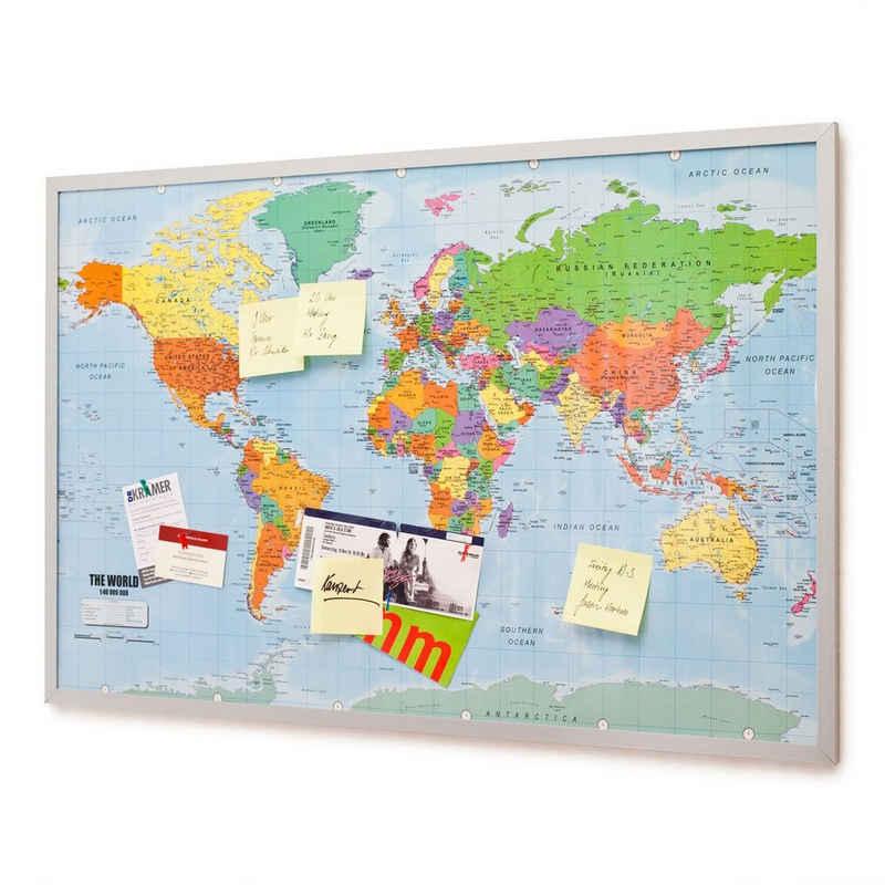 Goods+Gadgets Pinnwand »Weltkarte aus Kork«, (XXL), Memotafel mit Markierungsfähnchen