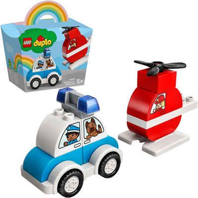 LEGO® Konstruktionsspielsteine »Mein erster Feuerwehrhubschrauber und mein erstes Polizeiauto (10957), LEGO® DUPLO® Creative Play«, (14 St), Made in Europe