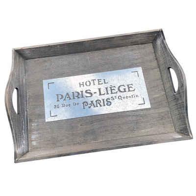 "Wellgro Tablett »Nostalgisches Holz Tablett ""Hotel PARIS-LIÈGE"" - 47 x 33 x 8 cm - Serviertablett - Servierplatte«"