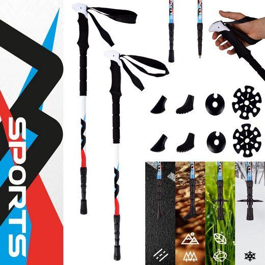 MSports® Trekking-Stöcke »Nordic Walking - Trekking Carbon Stöcke Premium - aus hochwertigem Carbon - Superleicht - auswählbar mit Tragetasche - Nordic Walking - Wanderstöcke«