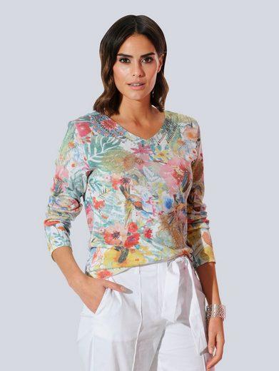 Alba Moda V-Ausschnitt-Pullover allover im floral bedruckten Dessin