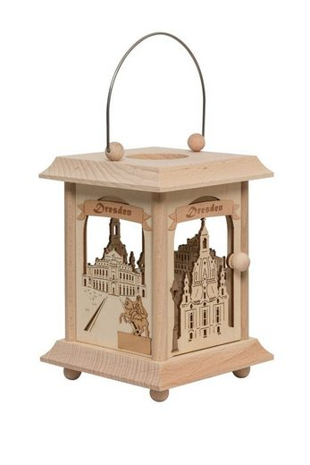 Kuhnert Laterne »27036, Tischlaterne mit Dresdenmotiv«, Handarbeit aus Holz, Made in Germany