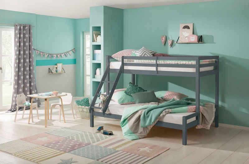 Lüttenhütt Kinderbett »Alpi«, mit 2 Schlafgelegenheiten, inklusive Lattenrost und Leiter, aus massivem Kiefernholz, Etagenbett