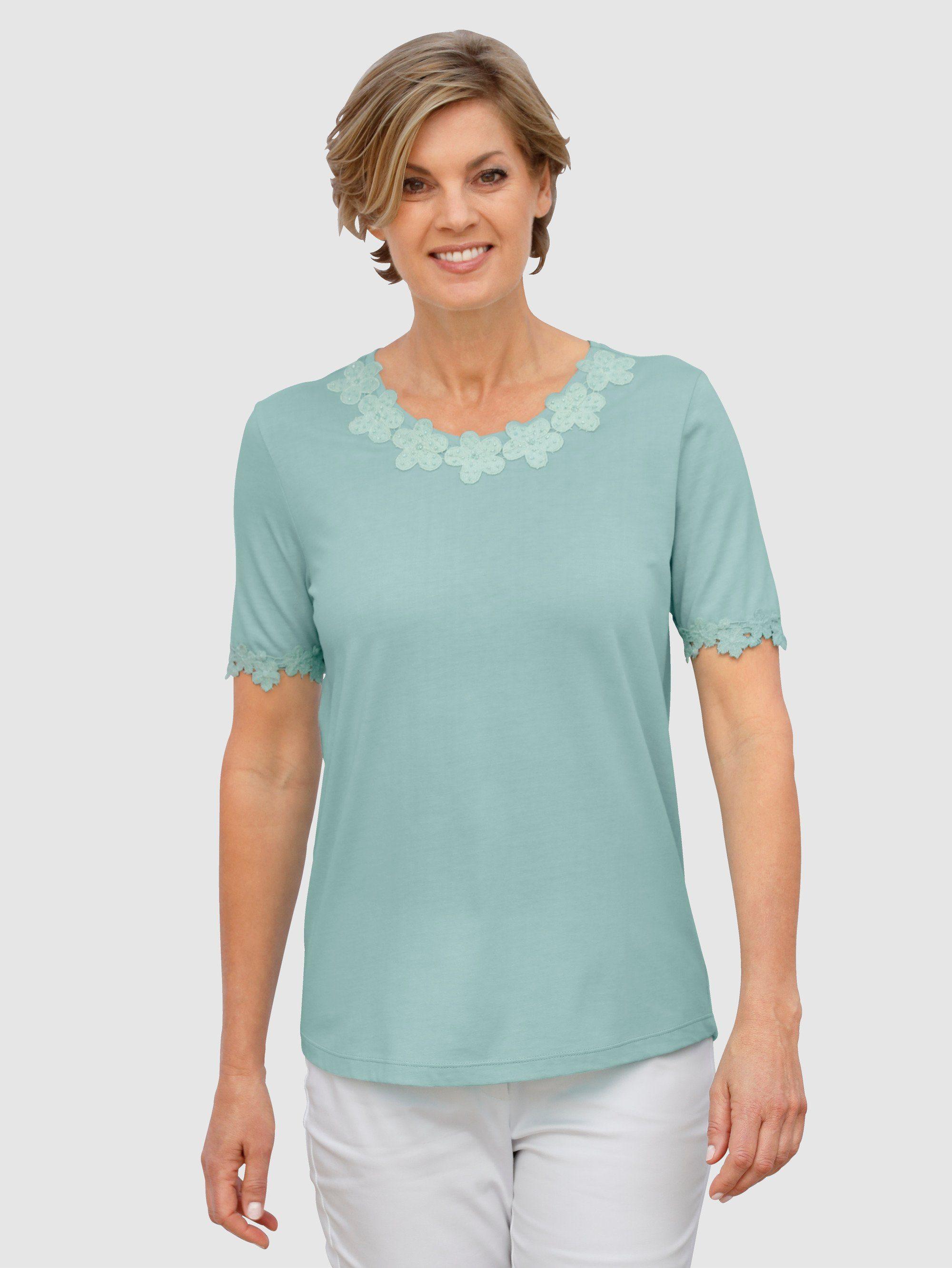 Paola Shirt mit Stehkragen blau langarm Baumwolle uni Damen