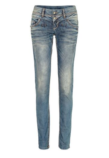 Cipo & Baxx Slim-fit-Jeans »Glow« mit Steppnähten in Straight Fit