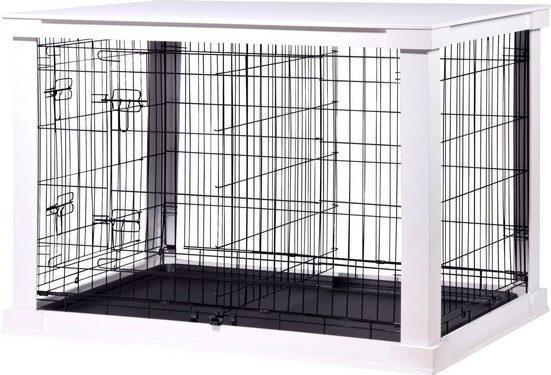 DOBAR Hunde-Gitterbox »Gr. L«, BxLxH: 73x110x76 cm, weiß