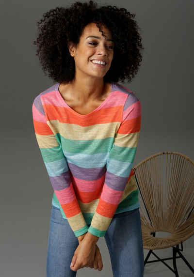 Aniston CASUAL Langarmshirt mit farbstarken Streifen