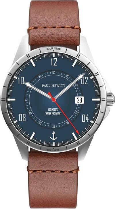 PAUL HEWITT Quarzuhr »Tide Runner Marineblau Silber Leder Braun und Nato Marineblau, PH002830«, (Set, 2-tlg., mit Wechselband)
