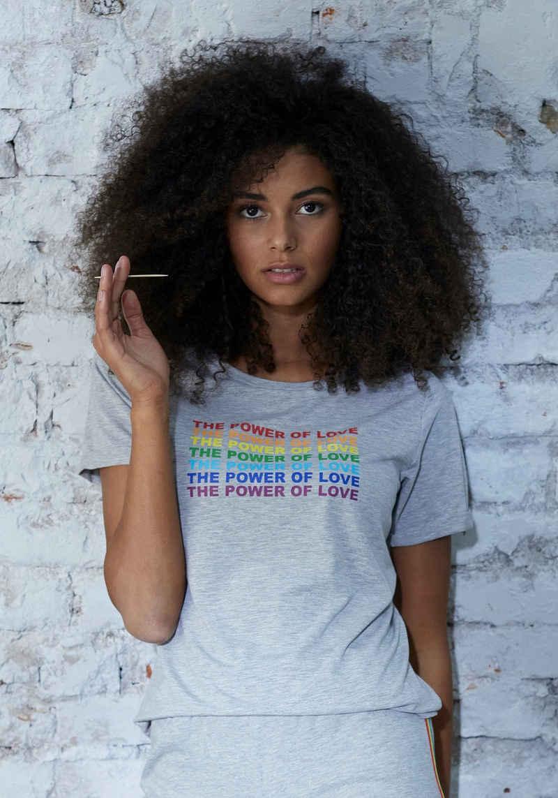 LASCANA T-Shirt mit 'Power of Love' Frontdruck
