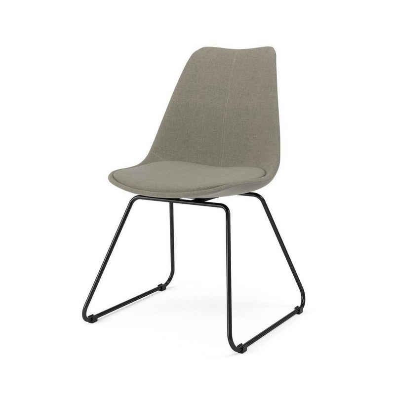 Kasper-Wohndesign Esszimmerstuhl »MALIM«, Stoff grau Metallkufe versch. Farben