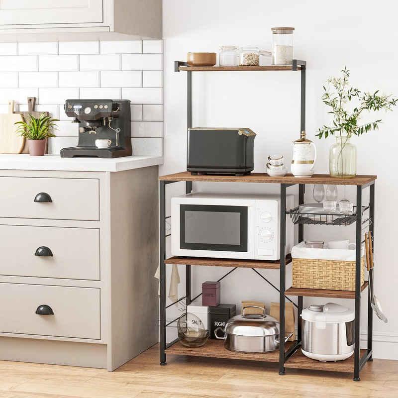 VASAGLE Standregal »KKS035/35«, Küchenregal mit Metallkorb, 6 S-Haken und Regalablagen, 90 x 40 x 132 cm, Industrie-Design
