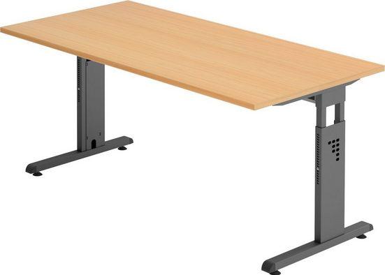 bümö Schreibtisch »OM-OS16-G«, höhenverstellbar - Rechteck: 160x80 cm - Gestell: Graphit