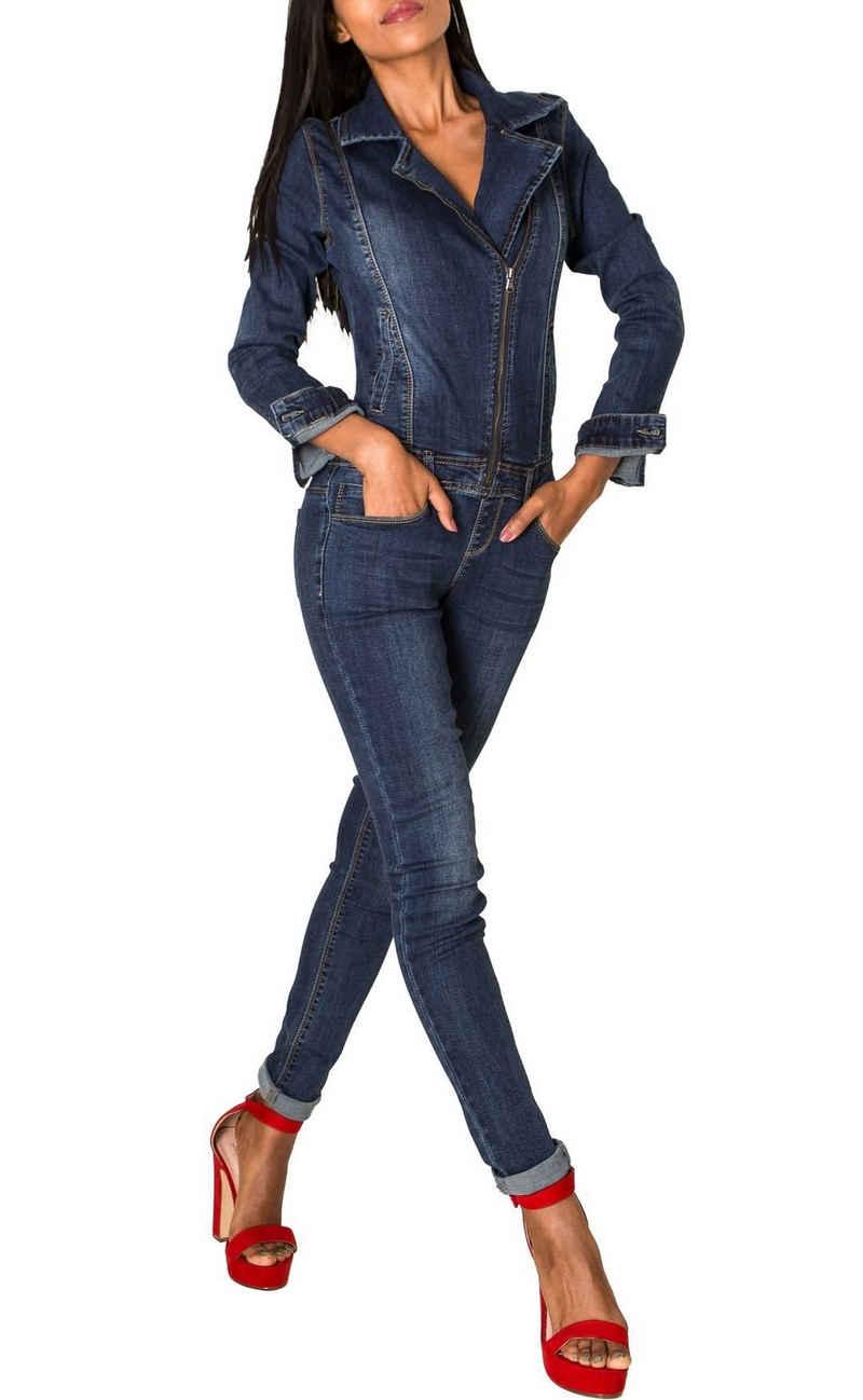 Nina Carter Jumpsuit »2958« Damen Jeans Hosenanzug