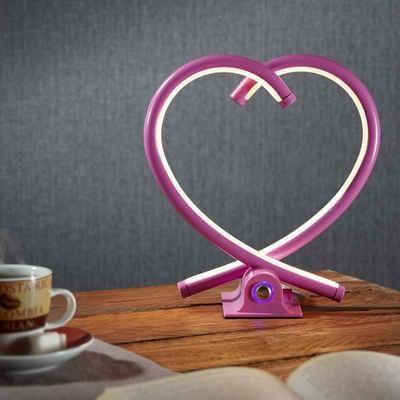 famlights LED Tischleuchte »LED Herz Tischleuchte Valor in pink«, Tischleuchte, Nachttischlampe, Tischlampe